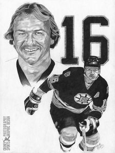 Pencil on Illustration Board Rick Middleton - Boston Bruins Brad Park, Phil Esposito, Ray Bourque, Milan Lucic, Patrice Bergeron, Canada Hockey, Bobby Orr, Boston Bruins Hockey, Boston Sports