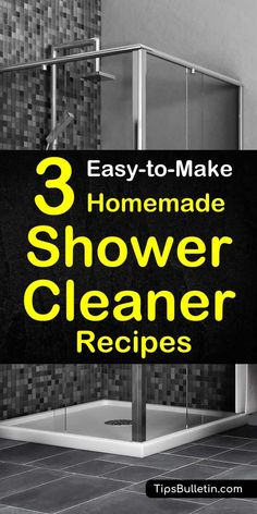 Find out how to best clean your shower with these easy-to-make homemade shower cleaner recipes. Includes DIY cleaning recipes containing natural ingredients like baking soda, vinegar, hydrogen peroxide and rubbing alcohol. Perfect to remove stain, soap scum and even mold.