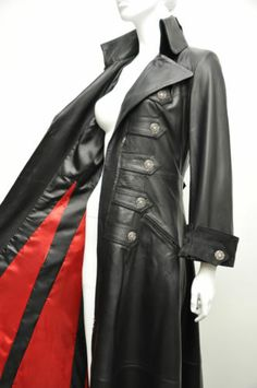 Ladies New Full Length Gothic Victorian Steampunk Leather Luxury Trench Coat