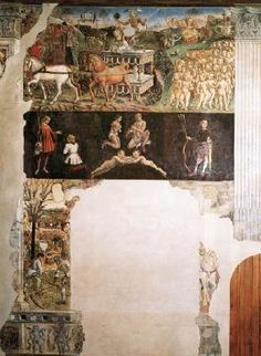 COSSA, Francesco del Allegory of May: Triumph of Apollo  1476-84 Fresco, 500 x 320 cm Palazzo Schifanoia, Ferrara  Above the triumphal car of Apollo is depicted, to the left are poets, to the right naked boys. In the centre Gemini, below rural activities are represented.