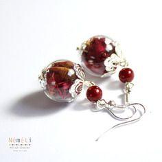 Boucles d'oreilles globe verre soufflé roses rouges fleurs séchées - amour - saint valentin