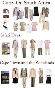 Africa Safari is the ultimate bucket list trip, but packing space is at a premium. How to packing for Safari in a Carry-On and still look good in Cape Town and the winelands – TravelingTulls Safari Outfits, Safari Outfit Women, Safari Clothes, South Africa Safari, Tanzania Safari, East Africa, African Safari, Africa Travel, African Fashion