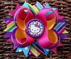 Hello Kitty Rainbow Inspired Birthday Hair Bow -Hello Kitty Hair Bows