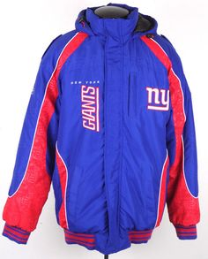 NFL New York Giants Embroidered Winter Coat Jacket Mens Large Red Blue Hood Nice…