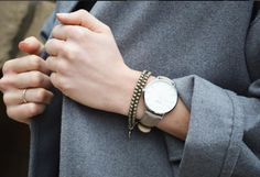 CLUSE La Boheme Silver with Grey and GRAY Home + Lifestyle Pyrite Double Wrap Bracelet