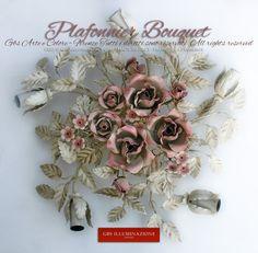 Plafonnier avec des roses et des fleurs de fraisiers. Plafonnier Bouquet blanc