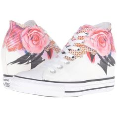 Converse Chuck Taylor All Star Lux Digital Floral Print Mid... ($75) ❤ liked on Polyvore featuring shoes, sneakers, black sneakers, black shoes, floral shoes, white sneakers and white trainers