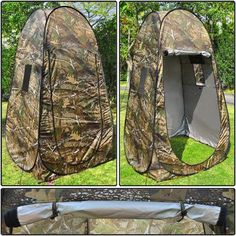 "Privacy Shower Toilet Camping Pop Up 77"" Height 42 1/2 Sq. In. Tent Polyester Camo Mixed Colors Changing Shelter Hut w/ Carrying Bag…"