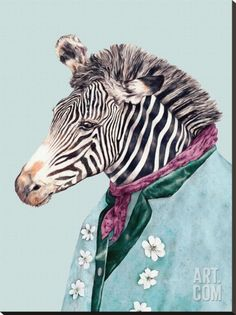 Zebra Stretched Canvas Print by Animal Crew at Art.com