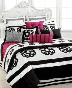 Sabina 12 Piece Comforter Sets - Bed in a Bag - Bed & Bath - Macy's ... I LOVE THIS! Black, white and a pop of pink!
