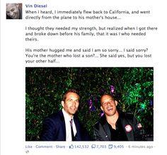 Vin Diesel on Paul Walker's death
