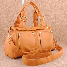 Hania - Womens fashion #brown #shoulderbags with rivet decoration