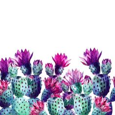Watercolor cactus Wall Mural • Pixers® • We live to change