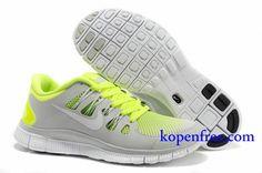 Goedkoop Schoenen Nike Free 5.0 + Dames (kleur:vamp-grijs;binnen-geel;logo en zool-wit) Online Winkel.
