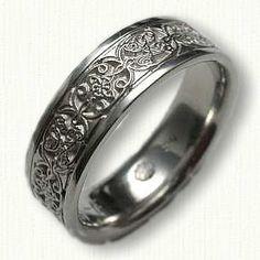 14kt White Gold Custom Initials & Mohan Knot Wedding Band