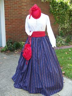 Civil War costume Dickens Christmas  Stripe Long by civilwarlady, $32.99