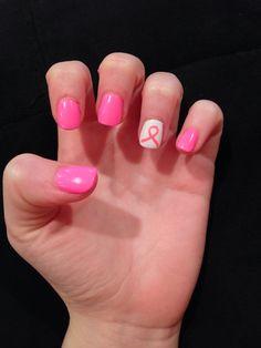 Acrylic T Cancer Awareness Nails With A Pink Ribbon Nail Art