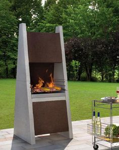 Gabion fireplace - could build something like this to create a ...