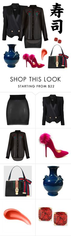 """Business Dinner"" by smarty86 ❤ liked on Polyvore featuring Wolford, Balmain, Gucci, Urban Decay, Kate Spade, boss and Dinner"