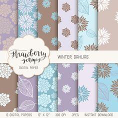 Winter dahlias digital paper pack