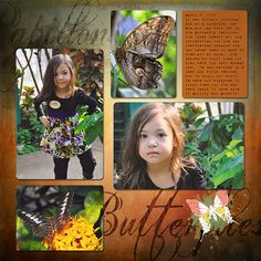 Butterflies.  Layout created using the May Layout Template and digital scrapbooking kit, The Tower's Window.