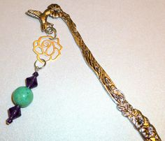 Silver Flower Bookmark with Tropical Flowers. Bead by BlissfulVine, $7.25