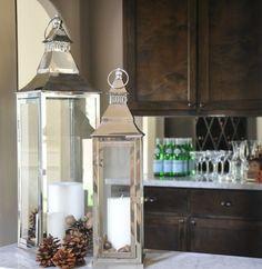 Windlichter Metallic Laterne Glaseinsatz-Küchendeko mit Zapfen
