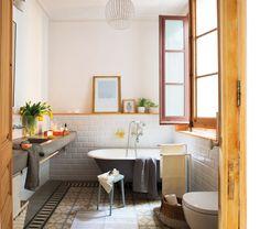 enviadia 469448. Baño con bañera exenta suelos mosaicos y baldosas tipo metro_469448