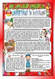 English worksheet: CHRISTMAS AROUND THE WORLD - PART 8 – GERMANY  (B&W VERSION INCLUDED) - READING COMPREHENSION