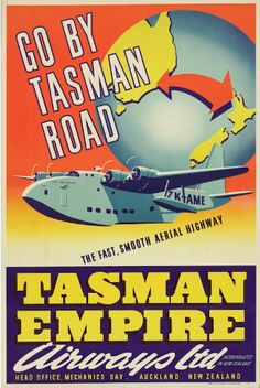 This advertising poster shows a flying boat, the ZK-AME, in flight, in front of a globe turned to show the route between Sydney and Auckland. TEAL used the ZK-AME flying boat on the Trans-Tasman route. Poster Ads, Sale Poster, Advertising Poster, Vintage Advertisements, Vintage Ads, Vintage Airline, Posters Australia, Flying Boat, Art Deco Posters