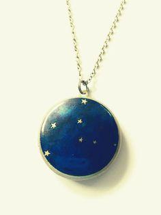 Virgo Constellation Astrology Round Brass Locket Necklace by Locketfox on Etsy