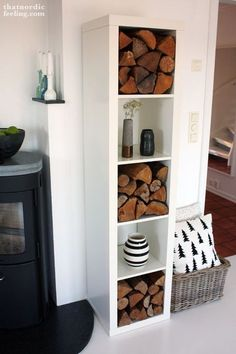 Everyone knows 'Kallax' shelves from IKEA! Here are 7 great DIY ideas with Kallax shelves! - DIY craft ideas - Vanessa Eggert - Everyone knows 'Kallax' shelves from IKEA! Here are 7 great DIY ideas with Kallax shelves! Ikea Kallax Shelf, Ikea Kallax Regal, Kallax Shelving, Ikea Bookcase, Shelving Decor, Ikea Kallax Hack, Ikea Shelves, Firewood Rack, Firewood Storage