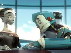 Robots Cappy (voiced by Halle Berry) and Rodney Copperbottom (voiced by Ewan McGregor) from the 2005 animated film Robots. Robot Picture, Divas, Computer Love, Robot Theme, Robot Cartoon, Blue Sky Studios, Star Wars Outfits, Film Genres, Ewan Mcgregor