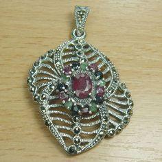 Massjewelry - Huge Genuine Ruby Emerald Sapphire 925 Sterling Silver Cocktail Pendant