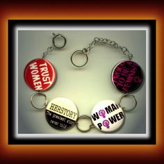 Feminist Feminism Woman Power Equal rights Charm Bracelet photo jewelry altered art by Yesware11 on Etsy!