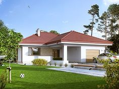 Visualisation of single-family house made with MTM STYL House Made, My House, Kiwi, Ideal Home, House Plans, Pergola, Outdoor Structures, Mansions, House Styles