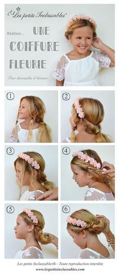 Kids Hairstyles Tutorial, Flower Hairstyle for Girls for a Wedding / Flower Girl Hair Tutorial - Kommunion frisuren - Flower Girl Hairstyles, Little Girl Hairstyles, Bun Hairstyles, Children's Hairstyle, Hairstyle Wedding, Kids Hairstyles For Wedding, Black Hairstyles, Wedding Hair Flowers, Flowers In Hair