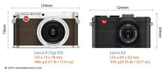 Leica X (Typ 113) vs Leica X2 Camera Size Comparison - Front View