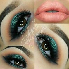 Metallic green and brown shadow with coral lips