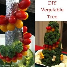 How to make your own edible Vegetable Tree for the holidays! Fun centerpiece for the holidays adorned with veggies and cheese ornaments.
