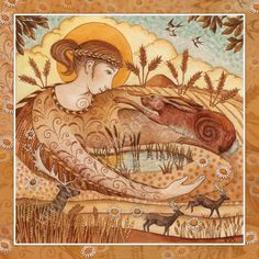 Lammas card - Painting Dreams. Grain Mother Ker spreads Her Golden cloak across the land.She brings the bountiful abundance of the harvest. A time of gratitude for all that we have.