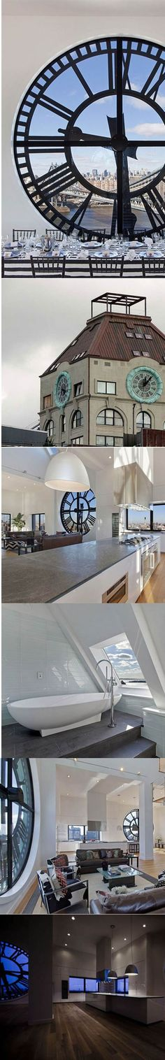 Old clock tower that has been converted into a penthouse apartment. SOURCE: http://the-fault-around-us.tumblr.com/post/103909379374/old-clock-tower-that-has-been-converted-into-a