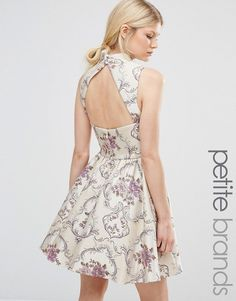 Chi Chi Petite | Chi Chi London Petite All Over Jacquard Mini Prom Dress With…