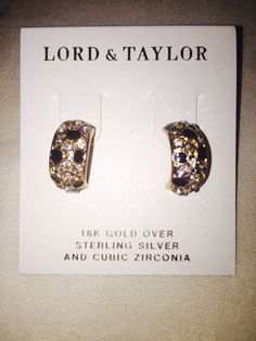 Lord & Taylor Stud Earrings 18k Gold over Sterling Silver Earrings $110 Retail #LordTaylor #Stud