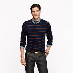 Merino sweater in navy stripe - sweaters - Men's New Arrivals - J.Crew