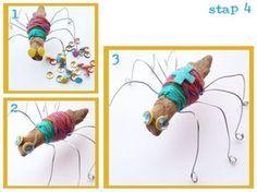 Spin maken van een takje, ijzerdraad en wol.