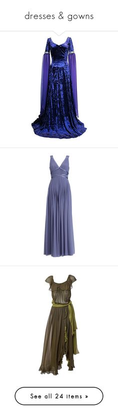 """""""dresses & gowns"""" by valaquenta ❤ liked on Polyvore featuring dresses, medieval, gowns, medieval dresses, long dresses, vestidos, women, blue color dress, monsoon dresses and lattice dress"""