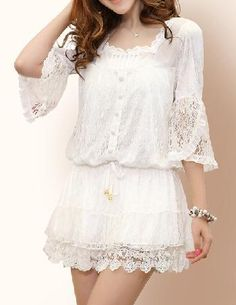 Lace Drawstring Dress with Squareneck - Glitzx