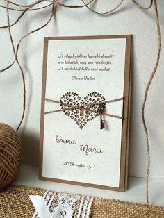 Ajándékozz jövendőbeli párodnak egy kulcsot a szívedhez! 🗝❤ A romantikus és egyben szimbolikus meghívó fedőlapját egy lézerrel kivágott szív díszít, melynek közepén egy kulcslyuk látható. Az egész meghívót madzag köti át, melyen a szívhez tartozó fémkulcs is megtalálható. 😊  #eskuvo #eskuvoimeghivok