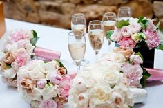 BG194 Posy of verigated pink carnations, Julia roses, pale pink and white David Austin roses and lisianthus